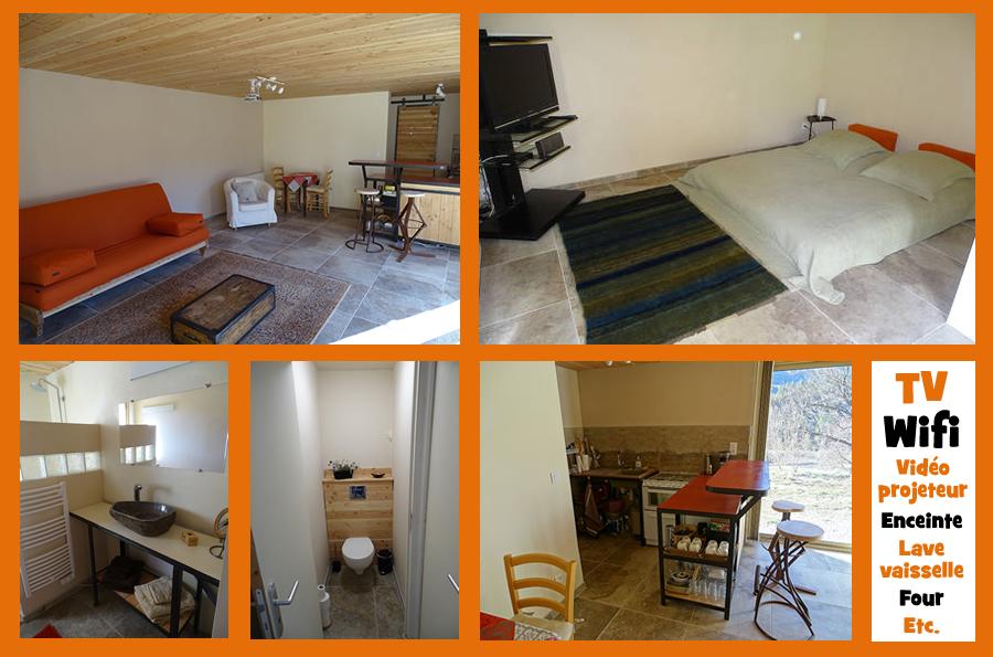 gîte-studio indépendant à Saint-Vincent-sur-Jabron - photos d'intérieur